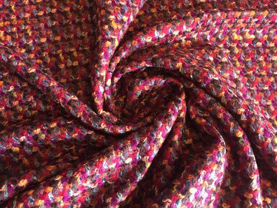 Heavy Wool Boucle with Purple Orange Magenta Fuchsia