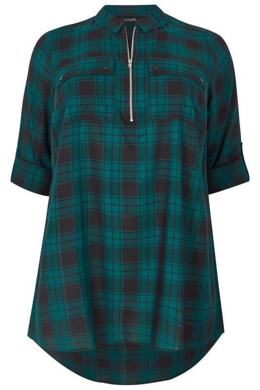 5ac4a9816077b9 Shop Green Zip Through Check Shirt at Yours Clothing. Discover plus size  fashion in size 14-34.