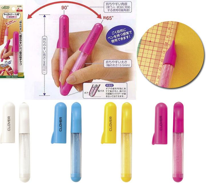 Clover : Chaco liner (powder type) / 1pc Wheel tip powder chalk Permits accurate markings for both straight lines and freehand curves. Rolls smoothly, traces fine lines & fits between stencil grooves. Chalk washes or brushes away. Plastic cap for storage. Narrow like a pen so it's easy to hold. The refill cartridge system is easy to use and no mess. #id13497