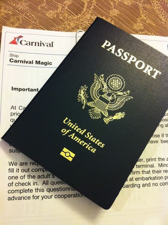 Passport for Carnival Cruise