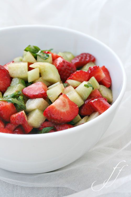 Cucumber and strawberry fruit salad!