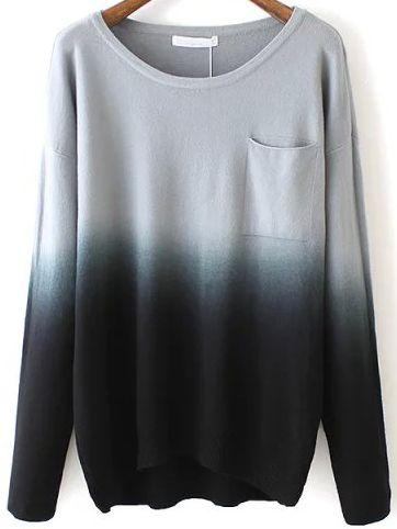 Black Dip Hem Ombre Pocket Sweater