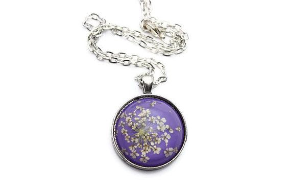 30mm Dried Flower Necklace - Purple Necklace - Dried Flower Jewelry - Pendant Necklace for Women - Silver Chain Necklace