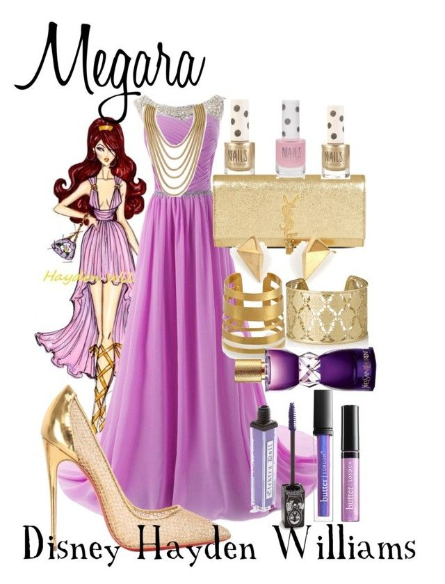 """Megara:Disney Hayden Williams"" by disney-0utfits ❤ liked on Polyvore featuring Disney, Hervé Van Der Straeten, Christian Louboutin, Topshop, Yves Saint Laurent, Butter London and Shyla"