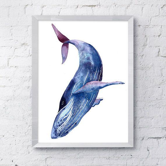 Blue humpback whale watercolor wall art hanging sea ocean ...