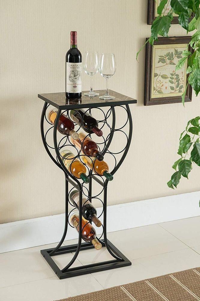 Metal Wine Storage Organizer Display Rack Table Marble Finish Top Home Furniture