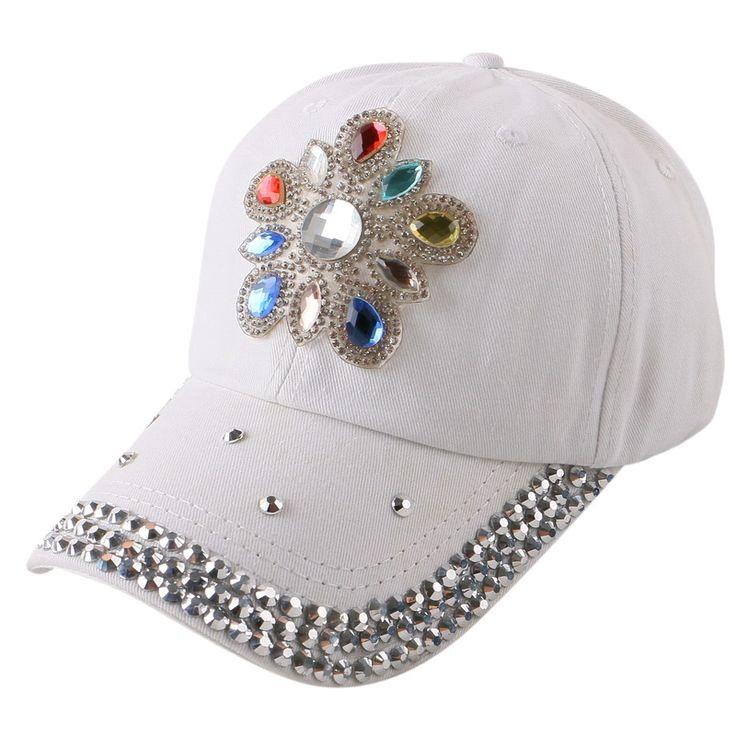 promotion new trendy floral flower decorated bling rhinestone snapback cap snap back hats women girl brand baseball caps