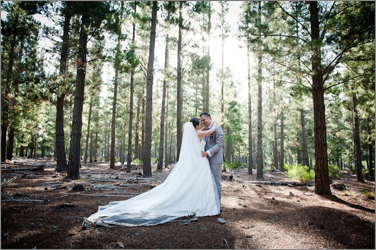 Post-ceremony couple shot in the forest :)