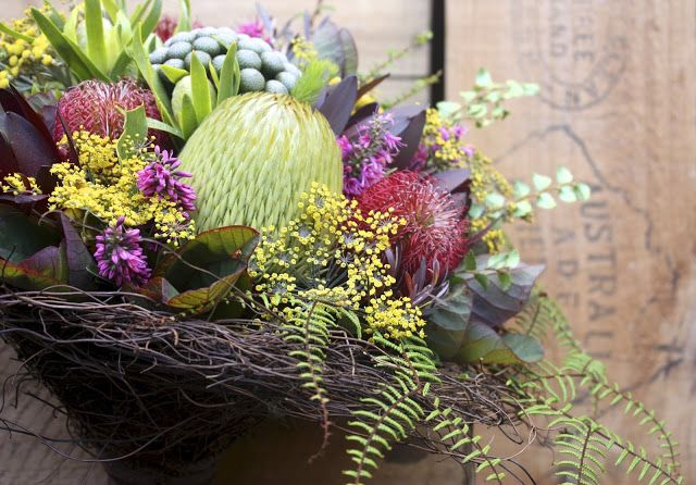 """Swallows Nest Farm: """"Birds Nest"""" Bouquets for a Cradle Mountain Wedding in Summer - Banksia Bridal Bouquet"""