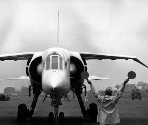 """XR219, the first TSR.2 arrives at Warton, Flight 14, February 22, 1965, after going supersonic for the one and only time en route from Boscombe Down"""