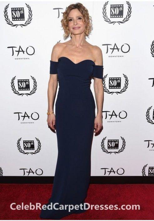 Kyra Sedgwick Off-the shoulder Navy Prom Dress 2014 NYFCC Awards