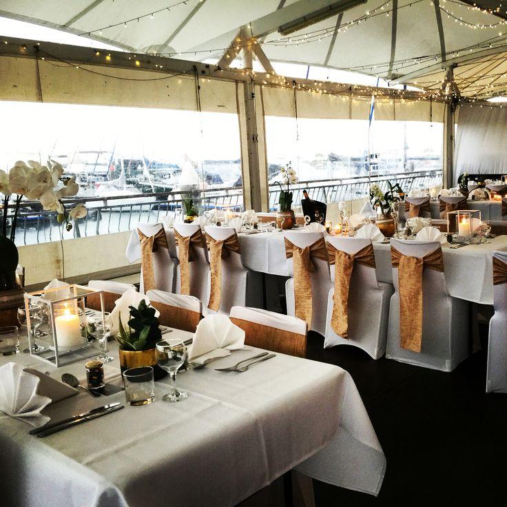 Deck wedding reception, elegant Hamptons style