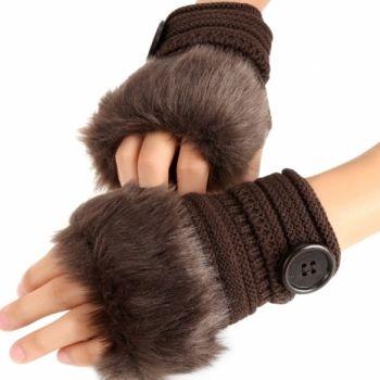 Fashion Winter Warm Women Button Faux Fur Knit Crochet Fingerless Gloves Wrist Hand Warmer