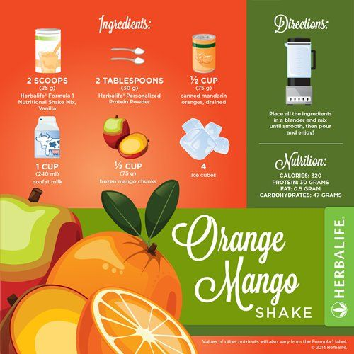 Orange Mango Shake Recipe - Herbalife Nutrition. http://www.goherbalife.com/paulineassisteert/nl-NL