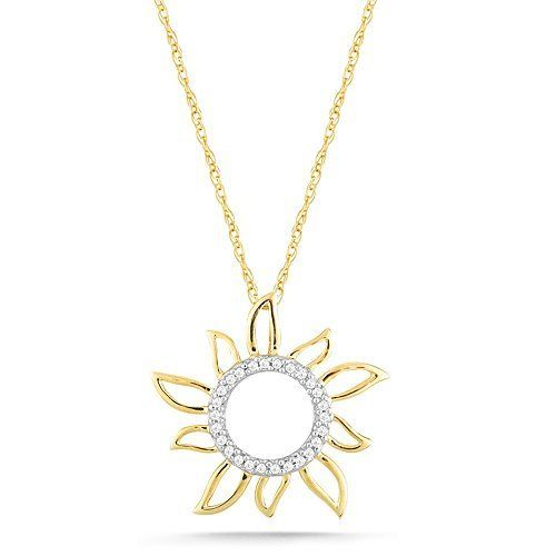 """10k Yellow Gold Diamond Sun Pendant (0.08 cttw, I-J Color, I2-I3 Clarity), 18"""" Amazon Curated Collection. $180.00. The total diamond carat weight listed is approximate. Variances may be up to .05 carats.. Made In India. All our diamond suppliers certify that to their best knowledge their diamonds are not conflict diamonds.. Save 53%!"""
