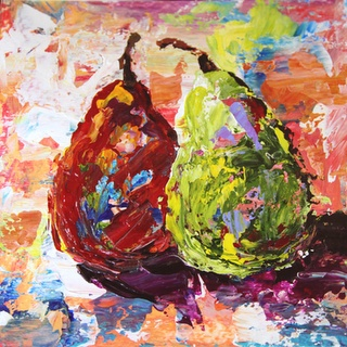 Wonders of the HeART: Two Pear Palette Knife Abstract Fruit Painting by Texas Artist Laurie Pace
