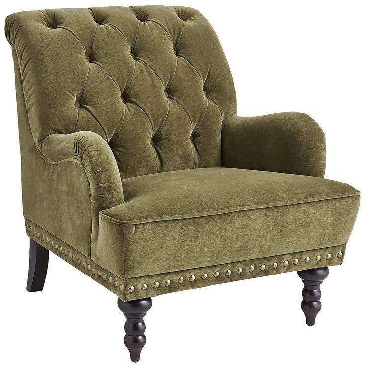 Chas Olive Green Velvet Armchair Armchairs Living Room