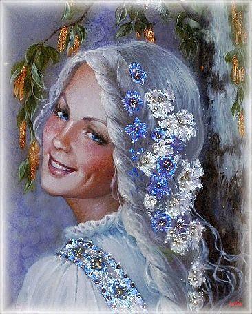 Голубоглазая девушка с ямочкой на щеке стоит улыбаясь, в полоборота, волосы девушки украшены белыми и голубыми сверкающими цветами (Зазноба. Лаковая миниатюра Светланы Беловодовой), by Leila