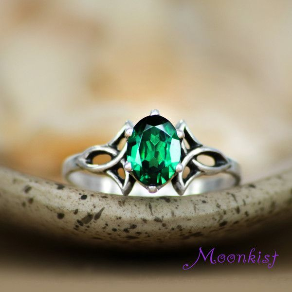 Emerald Green Spinel Trinity Knot Engagement Ring in Sterling Celtic Triskele Right Hand Ring, Sterling Silver Celtic Promise Ring and other apparel, accessorie...