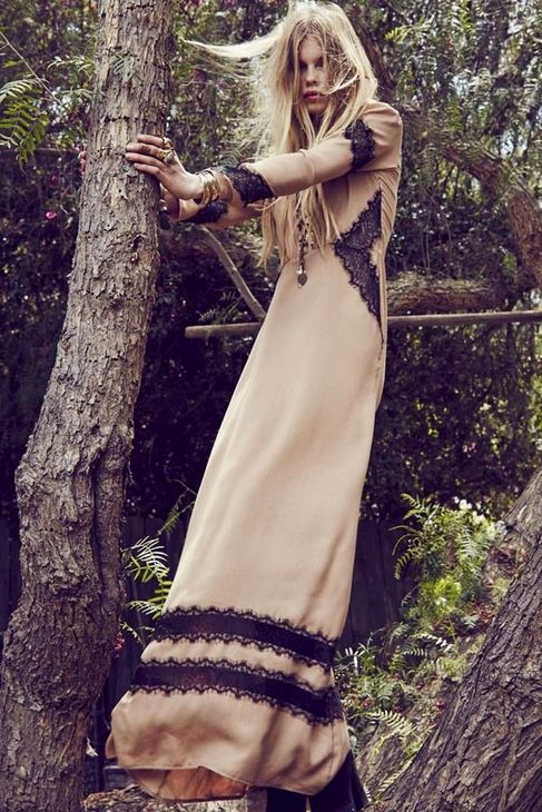 For Love & Lemons Goddess Maxi Dress in Camel - The Trend Boutique