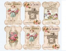 Sheet kantkaartjes shabby | ~Kant- en button kaartjes | Nostalgie & Brocante