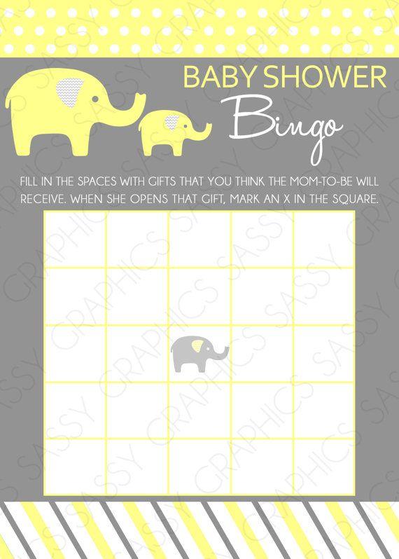 Elephant Baby Shower Bingo Card- Chevron, Polka Dot ...