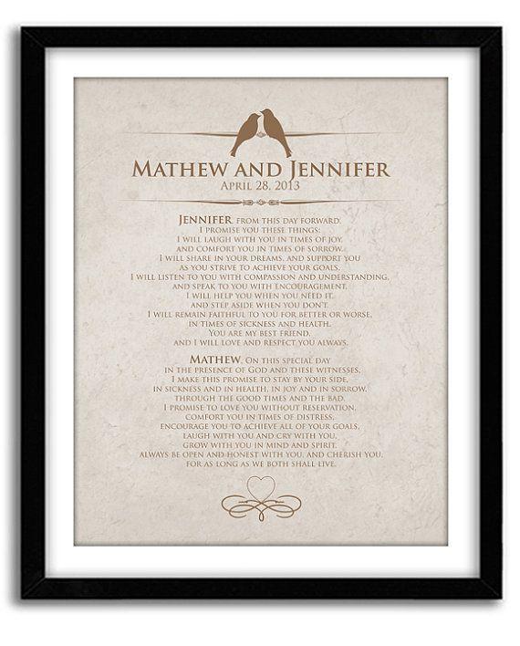 Wedding Vow Keepsake Personalized Wedding by GoodNightOwlDesigns