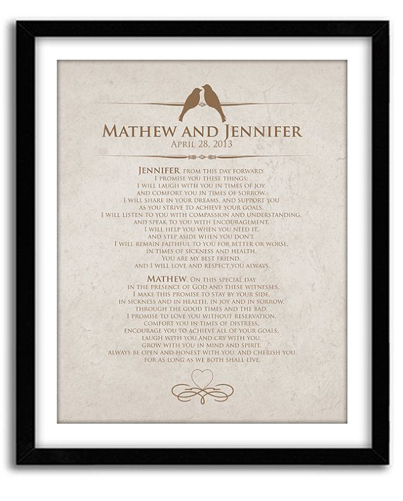 Wedding Vow Keepsake Personalized Wedding By