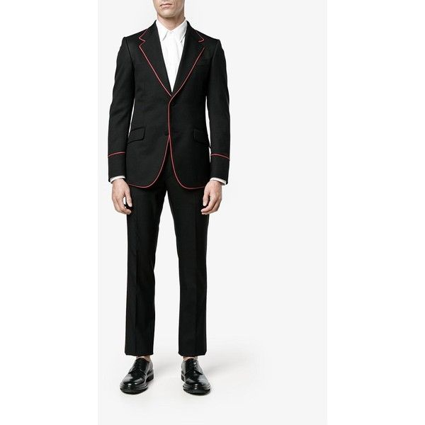 Gucci Heritage Tuxedo Suit (10 210 PLN) ❤ liked on Polyvore featuring men's fashion, men's clothing, men's suits, gucci mens clothing, mens tuxedo suit, gucci mens suits, mens slim suits and structure men's clothing