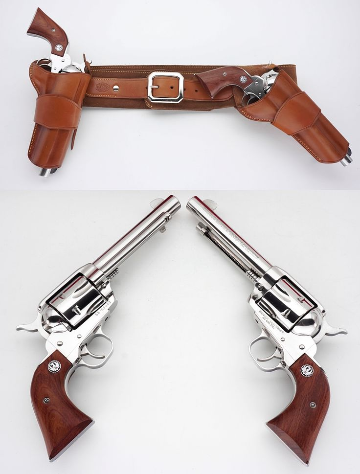 """Pistols (Ruger Vaquero .44 Mag. And holster rig featuring a hip-strong arm-right side hip holster and a """"mexican"""" cross draw position holster."""