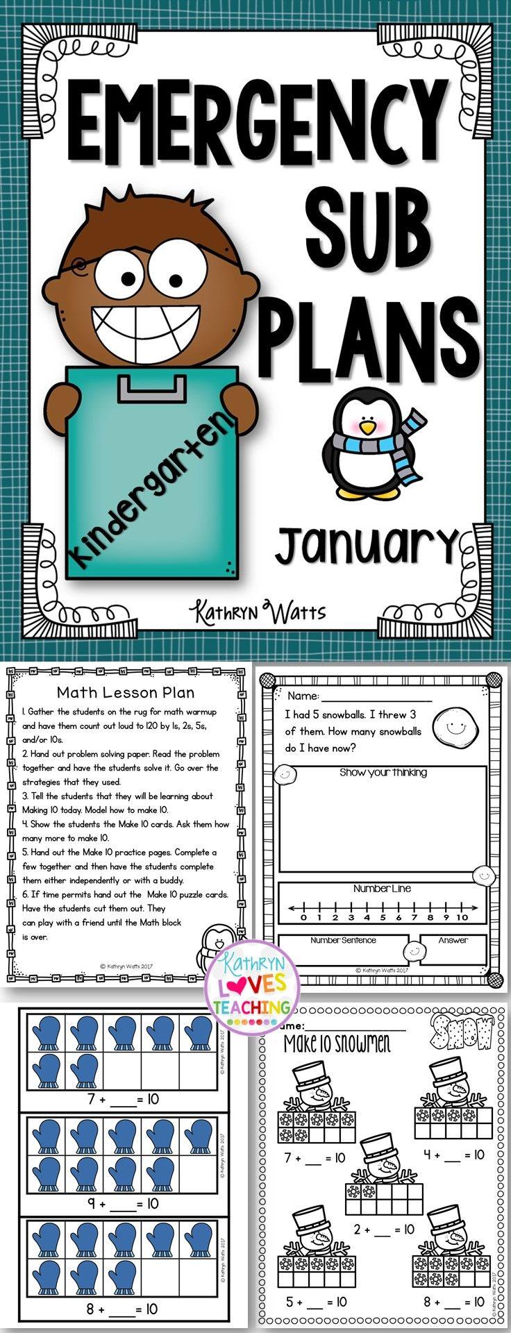 Kindergarten Emergency Sub Plans January