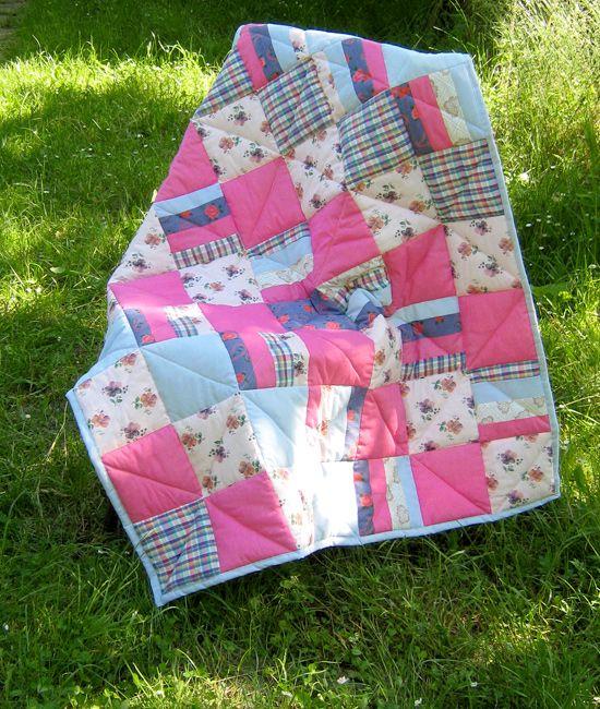 #Patchwork #quilt, одеяло из лоскутов #pink #blue