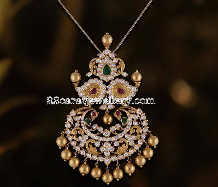 Peacock Locket by Satyanarayana Jewels
