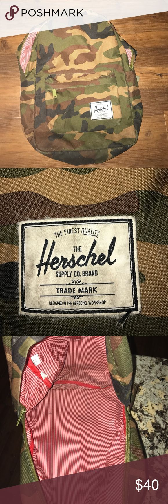 Camo Herschel Backpack Camouflage Herschel backpack. Retail price is 59.99 plus tax. It's authentic. Purchased from Zumiez 2 years ago. A little worn, but in good condition. Herschel Supply Company Bags Backpacks
