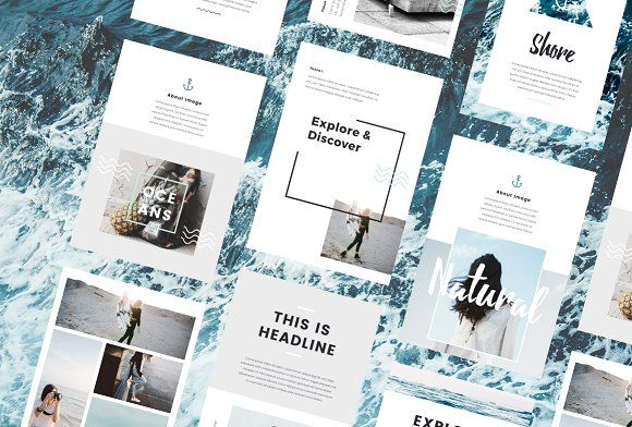 Nautical - A4 Printable PowerPoint by PitchLabs.co on @creativemarket