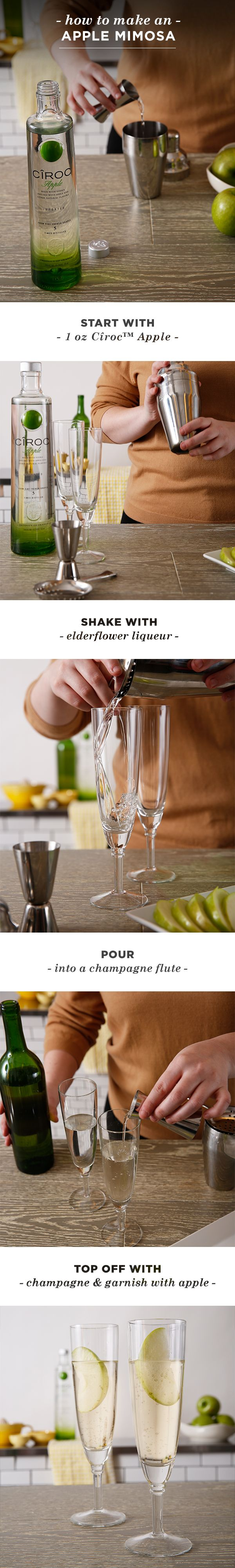 For your next Sunday brunch, this delicious new twist on the classic bubbly mimosa cocktail is a must-have. Combine 1 oz. Cîroc™ Apple and 0.25 oz. elderflower liqueur in a shaker with ice, and shake well. Then, strain into a champagne flute and top with 0.25 oz. sparkling wine or champagne. Garnish with an apple slice!