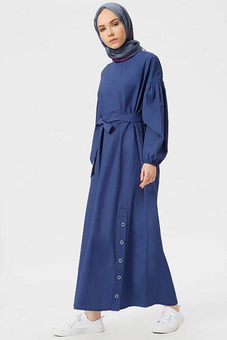 Benin İndigo Çıtçıt Detaylı Elbise - alisveris.yesilto...