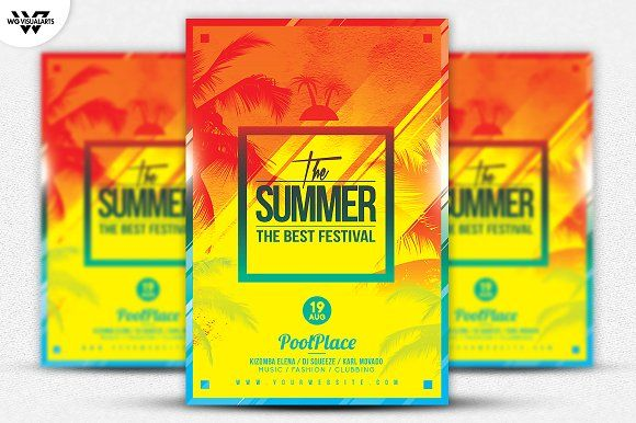 SUMMER BEACH Flyer Template by WG-VISUALARTS on @creativemarket
