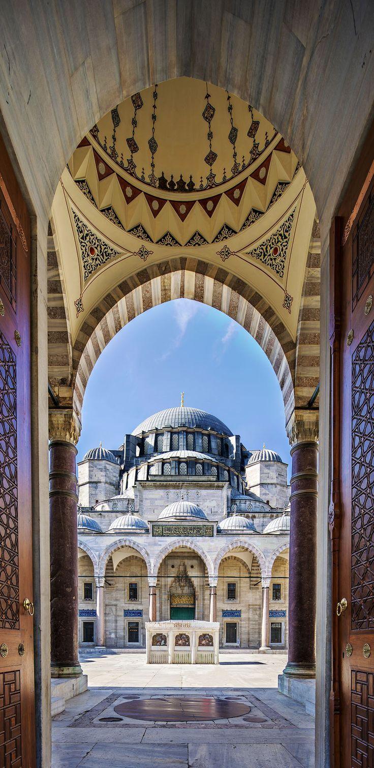 Famous Gate to Court Yard of Suleymaniye Mosque, Istanbul, Turkey