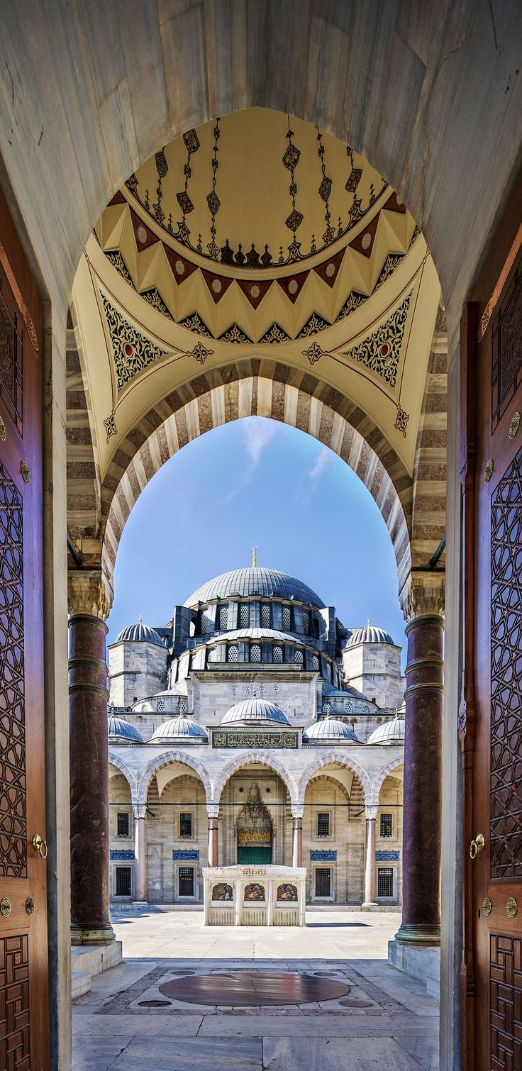 Famous Gate to the Courtyard of Suleymaniye Mosque, Istanbul, Turkey