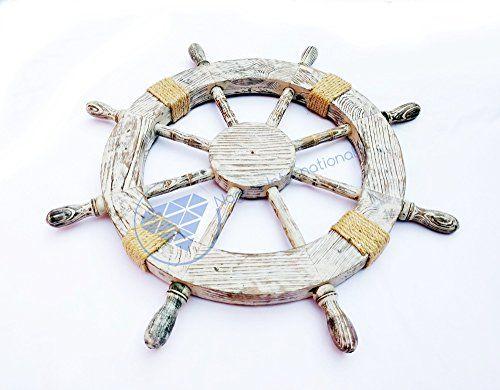 "24"" Home Decor Antique Grey White Ship Wheel With Rope - ... http://www.amazon.com/dp/B01FKDJK52/ref=cm_sw_r_pi_dp_JVEoxb1FFMCN8"