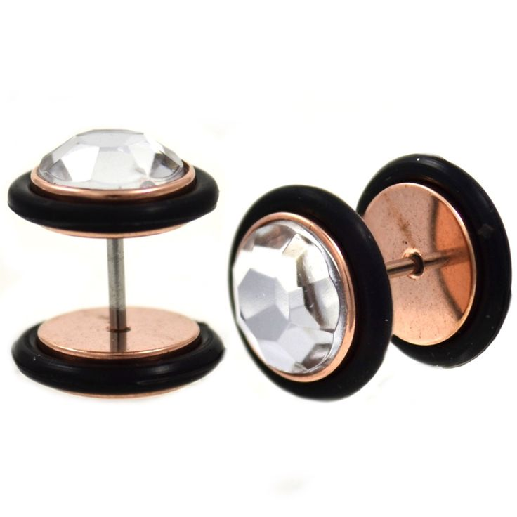 BodyDazz.com - Rose Gold-Tone Faceted Gem Top Fake Plug Earrings