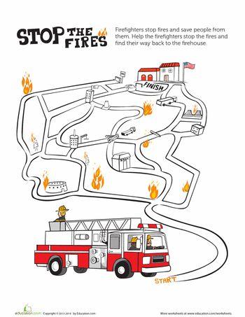 math worksheet : 33 best fireman policeman unit images on pinterest  preschool  : Firefighter Worksheets For Kindergarten
