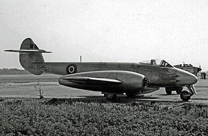 The Gloster Meteor. Worlds first production jet. It used Whittle's turbojet engine. Claimed 14 V1 kills and 46 other planes. It was often subject to friendly fire, being mistaken for the ME262 and was forbidden to be flown over German occupied territory.