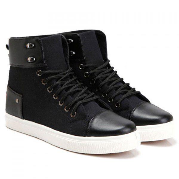 Stylish Splice and Rivets Design Canvas Shoes For Men, BLACK, 44 in Men's Shoes | DressLily.com