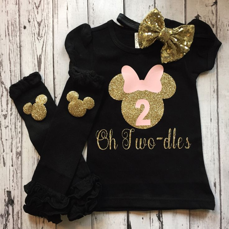 Pink Gold and Black Personalized Minnie Mouse 2nd Birthday Shirt, Toodles Birthday Shirt, Oh Twodles, Minnie Mouse 2nd Birthday Outfit, Prop by GlitterMeCute on Etsy https://www.etsy.com/listing/486954977/pink-gold-and-black-personalized-minnie