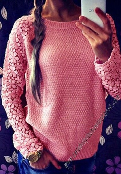 $36.99 Floral #Crochet Sleeve #Sweater. Free shipping worldwide on order over $75.  #celebrityfashionlookbook.