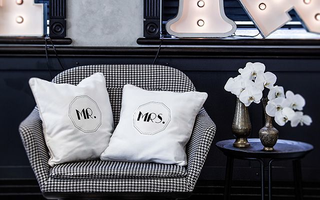 We love the 'Mr and Mrs' trend making a splash in 2015. Here's our style rendition of a household craft project for the modern bride.