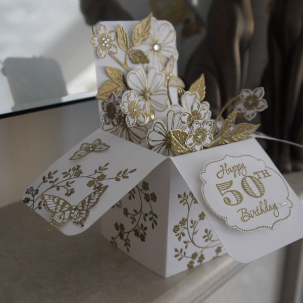 Stampin' Up! Flower Shop, pansy punch; card in a box