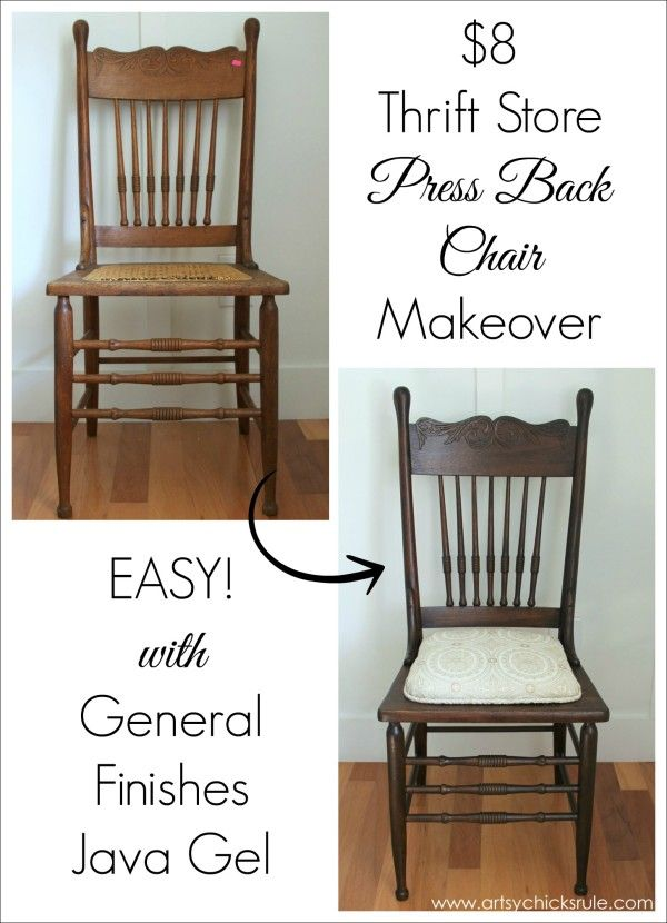 Press Back Chair Update with Java Gel Stain - General Finishes before and after